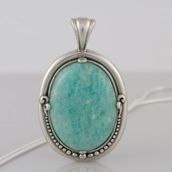 Turquoise Amazonite Pendant Necklace in Sterling Silver Setting on Sterling Silver Snake Chain