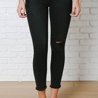 Black Distressed Skinny Jeans by Eunina