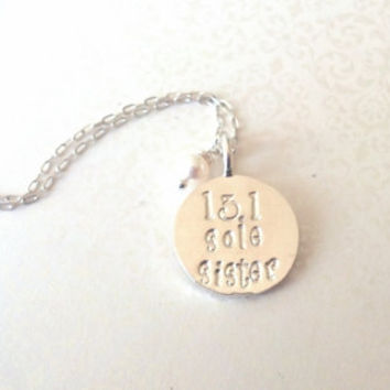 Runners Jewelry--13.1 Half Marathon or 26.2 Marathon Sole Sister Silver Necklace--Gift for Running Partner