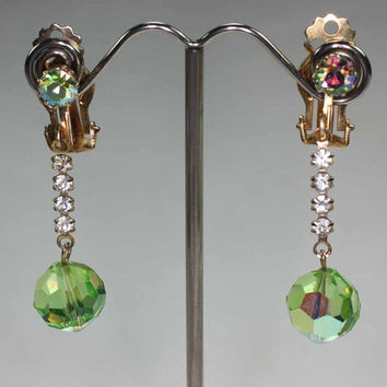 Ab Crystal Dangle Earrings Green & Clear Clip Style Vintage