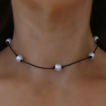Boho Knotted White Pearl Bead Leather Choker Necklace - Bohemian RoundBeaded Hippie Chic Black Cord Tattoo Spaced