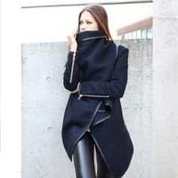 Zip Sleeve Wrap Long Wool Coat