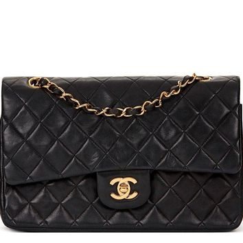 CHANEL BLACK QUILTED LAMBSKIN VINTAGE MEDIUM CLASSIC DOUBLE FLAP BAG HB1243