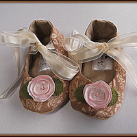 Baby Shoes Booties Mary Jane Infant Cream Tan Pink Flower Toddler Shoes