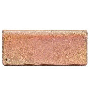 DCCKUG3 Gucci Broadway Crackled Metallic Leather Clutch Bag 342630 Rose Gold