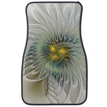 Golden Flower Fantasy, abstract Fractal Art Car Floor Mat