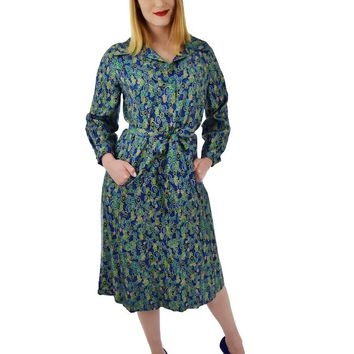 60s Vera Maxwell Silk Print Dress-L