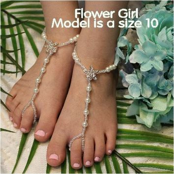 STARFISH flower girl gold barefoot sandals rhinestone