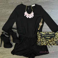 Madison Demure Black Lace Romper