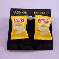 Lay's Potato Chip Bag Earrings  - 3cm - pierced
