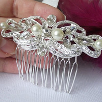 Bridal Hair comb, Wedding hair piece, wedding hair comb, Pearl bridal hair comb,rhinestone Bridal Hair accessories,crystal hair comb