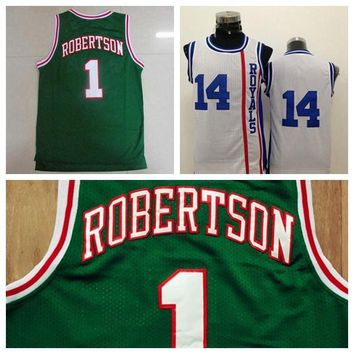New Retro 1 Oscar Robertson Jersey Rev 30 New Material 14 Oscar Robertson Throwback Shirt Uniform Green White Breathable Top Quality