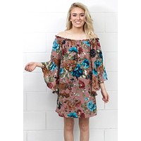 Sweet on Florals Off Shoulder Bell Sleeve Dress {Dusty Pink}