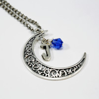 Birthstone Moon Necklace Custom Personalized Jewelry at Rock & Luna