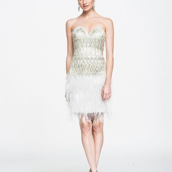 Ashley Lauren - 4002 Silver Fringe Sweetheart Sheath Cocktail Dress