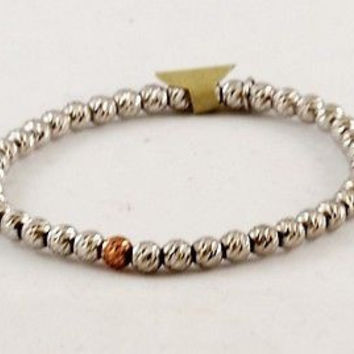 Beaded Stretch Bracelet, 925 Made in Italy -Silver