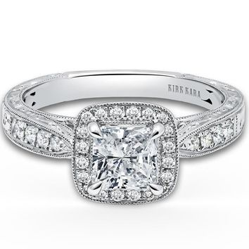 "Kirk Kara ""Stella"" Vintage Style Cushion Halo Diamond Engagement Ring"