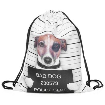Bad Dog Police Dept Mug Shot Jack Russell White & Black Drawstring Bag Backpack