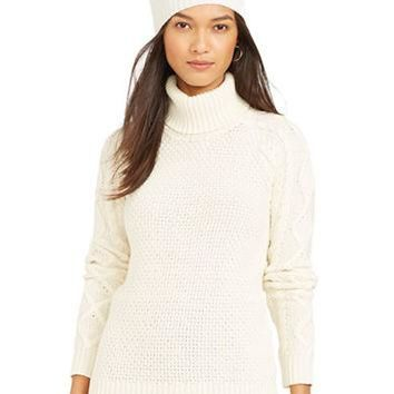 Lauren Ralph Lauren Petite Cable-Sleeved Turtleneck Sweater