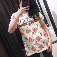 """Gucci"" Women Temperament Casual Flower Letter Print Short Sleeve T-shirt Top Tee"