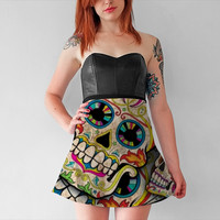Sugar Skull Collage by Spooky Dooky (Flare Skirt)