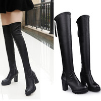 On Sale Hot Deal High Heel Stretch Skinny Knee-length Winter Stylish Boots [9013544388]