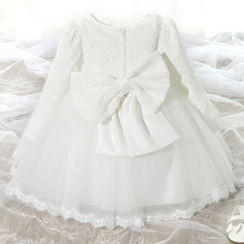 "The ""Reina"" Long Sleeve White Lace Dress Flower Girl Dress"