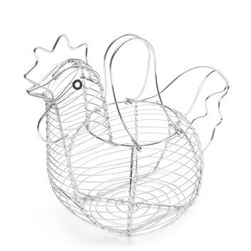 Chicken Egg Basket Steel Wire Egg Fruit Collecting Storage Basket Holder Rack