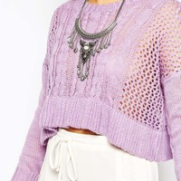 Stitch & Pieces Cable Knit Fine Gauge Sweater with Peplum