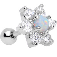 "1/4"" White Faux Opal Clear Petaled Floral Tragus Cartilage Earring"
