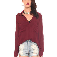 GYPSY WARRIOR - Burgundy Chiffon Blouse