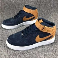 Nike air Force 1 MID 07 Men Trending Casual Sneakers Running Sports Shoes Brown G-CSXY
