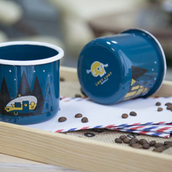 Enamel Camp Mug with Camper Trailer and A-Frame Designs // Coffee Tea RV Teardrop Winnebago Camping Trailer Wanderlust Travel Adventure Gift