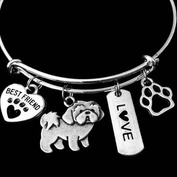 Shih Tzu Dog Expandable Charm Bracelet Silver Adjustable Wire Bangle Gift Best Friend Paw Print Pet Animal Lover Jewelry Gift