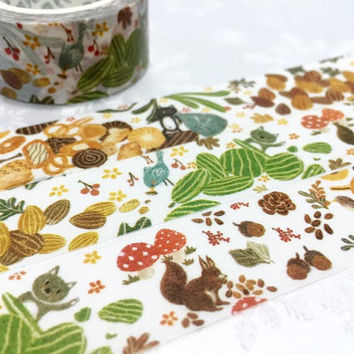 Autumn Forest tape 10M Forest animal washi tape cute cat squirrel bird  chestnut sticker tape Fall animal decor planner diary scrapbook gift