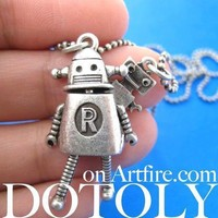 Wall-E Movie Inspired Robot Pendant Necklace in Silver | DOTOLY