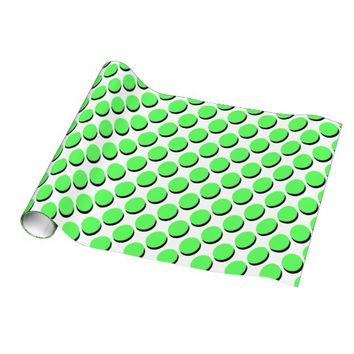 Cute Polka Dots, Neon Lime w Shadows Gift Wrap