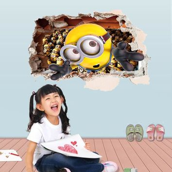 Cartoon Minions through the wall sticker children Despicable Me 2 removable inner decoration pvc decals art children gift