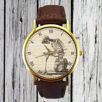 Vintage Human Skeleton Watch | Leather Watch | Ladies Watch | Mens Watch | Accessory | Holiday Gift Idea | Stocking Stuffer | Christmas Gift
