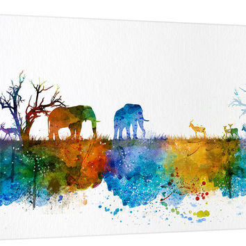 Wall Art Print, Watercolor Wild Elephant Family in African Savannah Canvas  Print - Wild Antelope Silhouettes Watercolor