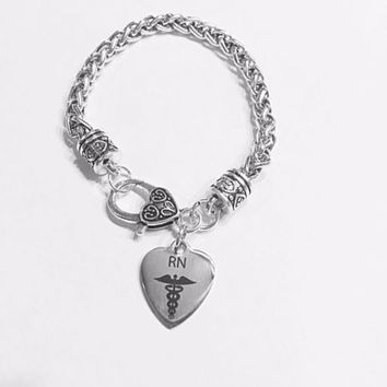 Registered Nurse RN Heart Caduceus Medical Gift Graduation Charm Bracelet