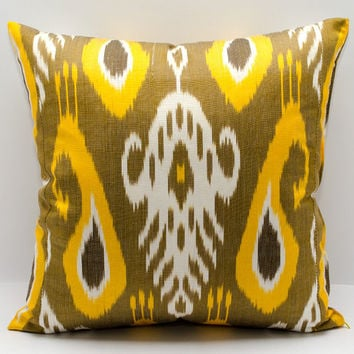 18x18, ikat pillow cover, yellow goldenrod white pillow, cushion, pillowcase, cushion cover, ikat,