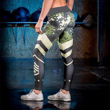 Women Sexy Patchwork Camouflage Pringting Gyms Leggings Night Joggers Sweatpants Slim Army Camo Leggings Bottoms Trousers Pants