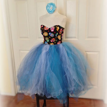 Adult tutu, blue ivory wedding tutu, bridal tutu, tea length tutu, prom dress tutu, rave raver tutu, tiffany blue tutu, adult frozen tutu