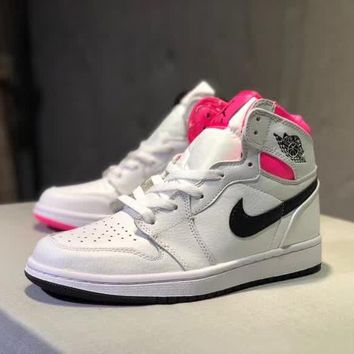 """""""Nike Air Jordan I"""" Unisex Casual Fashion Genuine Leather High Help Plate Shoes Couple Basketball Sneakers"""