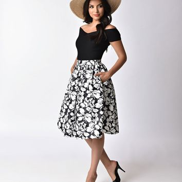 Unique Vintage 1950s Style Black & White Floral High Waist Swing Skirt