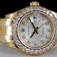 NEVER WORN Rolex Lady Datejust Pearlmaster Gold Silver Diamond 80298 WATCH CHEST