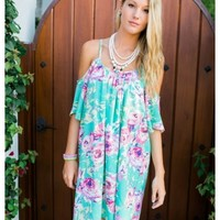 Danni - Cut out shoulders jade and lavender flower print dress.