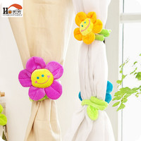 CUSHAWFAMILY 2 pcs 33cm long Sunflower flower curtain buckle hook Clips children plush toys wedding gifts family home decorates