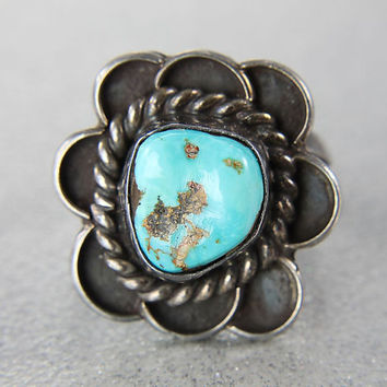 Blue Turquoise ring, Sterling silver size 7 Navajo Ring, signed Jameson Lee Native American Southwestern
